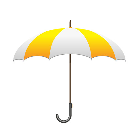 yellow umbrella: Striped white and yellow Umbrella. Care and protection from rain