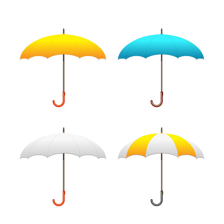 yellow umbrella: Set of colorful umbrellas, vector illustration. Front view