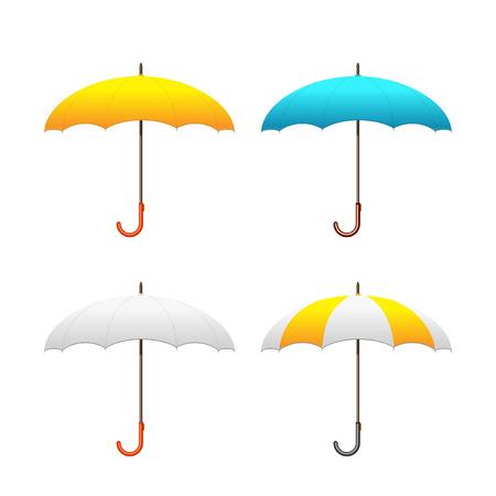 Zestaw kolorowych parasoli, ilustracji wektorowych. Przedni widok