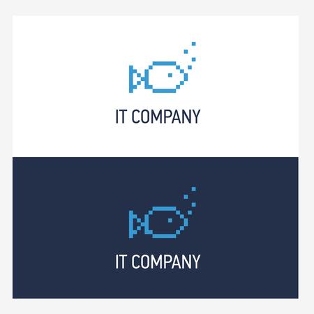 logo poisson: Modèle de conception de logo de poissons de Pixel avec un style carré. IT concept de badge d'entreprise Illustration