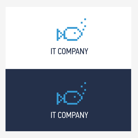 Pixel fish logo design template with square style. IT company badge concept