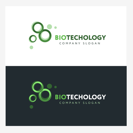 Biotechnology logo design template with abstract green cells. Science company badge concept