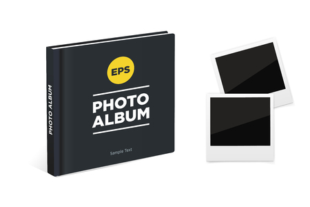 photo album book: Photo album book with black cover and Vintage photo frames. Vector mockup Illustration