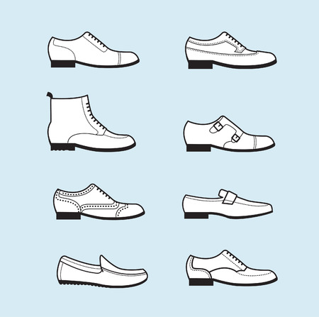 moccasins: Vector graphic set icons of flat classical mens shoes. Infographic illustration of oxfords, brogues, derby, monks, loafers, moccasins. Illustration