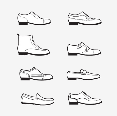 Vector graphic set icons of flat classical mens shoes. Infographic illustration of oxfords, brogues, derby, monks, loafers, moccasins. Illustration