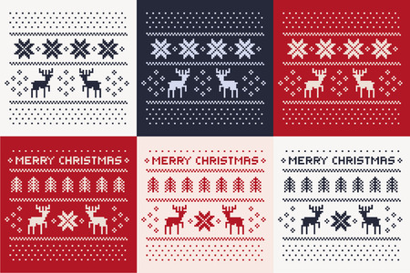 christmas winter pattern print set for jersey or t-shirt. Pixel deers and christmas trees Stock Illustratie