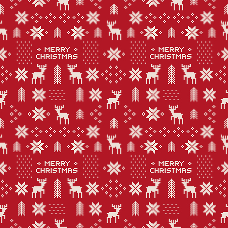 seamless retro red christmas pattern with deers, trees and snowflakes.