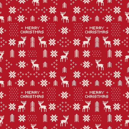 naadloze retro rode kerst patroon met herten, bomen en sneeuwvlokken.
