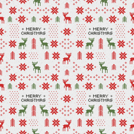 seamless retro christmas pattern with deers, trees and snowflakes.