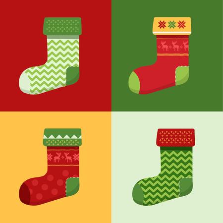 christmas sock: Flat winter Christmas Socks set with pixel deers and christmas trees