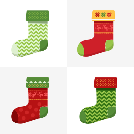 christmas concept: Flat winter Christmas Socks set with pixel deers and christmas trees