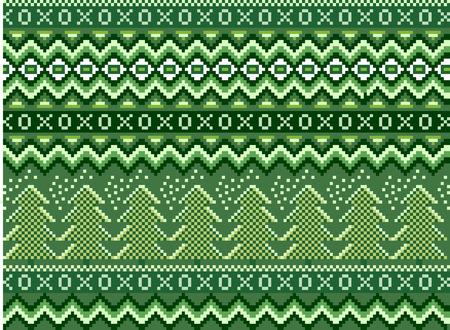 Vector pixel seamless winter holiday pattern with pines and snowflakes. Illustration