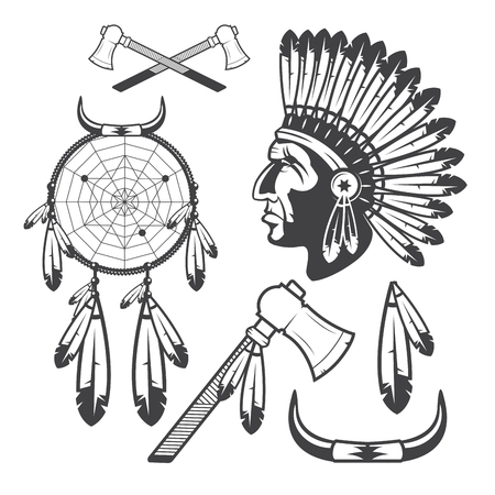 chief: American Indian Clipart Icons and Elements, isolated on white background