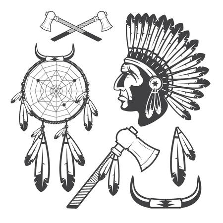indio americano: Indios americanos Clipart iconos y elementos, aislados sobre fondo blanco Vectores