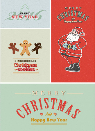 old style lettering: Vintage retro Christmas card set. Old-fashioned Santa Claus, gingerbread and old style lettering Illustration