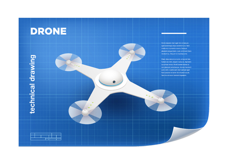 remote view: Technical Illustration with vector isometric white quadcopter drone drawing on the blueprint.