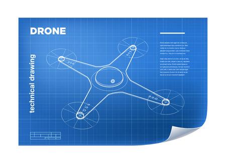 Ilustración técnica con el vector de línea isométrica quadcopter avión no tripulado de dibujo en el plano.