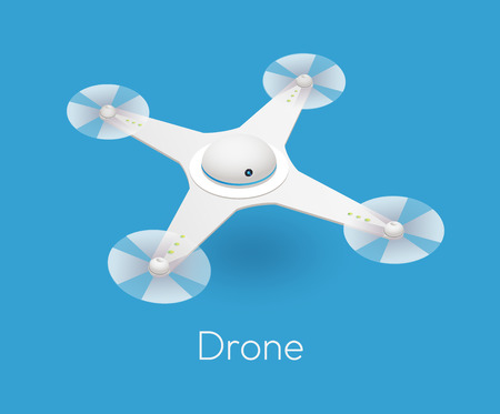 unmanned: vector isometric white quadcopter drone. Contemporary unmanned aircraft with digital camera for aerial photography Illustration