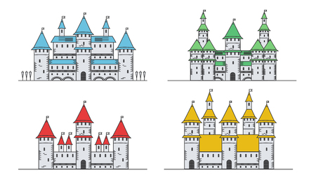 Medieval fortress or castles set. Flat style icons