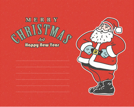post card: vintage red post card with Santa Claus  and place for your text Illustration