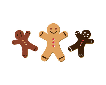 gingerbread man: Gingerbread man icon set. Vector illustration on the white background