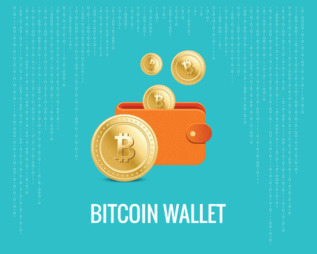 bitcoin wallet illustration with coin icons on the digital blue background