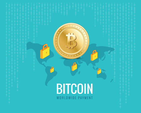 p2p: bitcoin worldwide payment illustration with world map and lock icons on the digital blue background