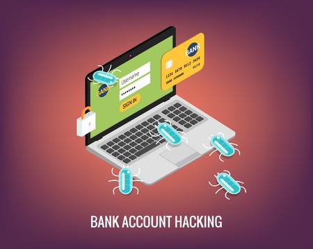 Hacker activity computer and viruses bank account hacking flat illustration