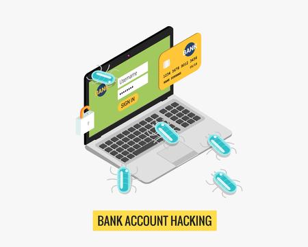 Hacker activiteit computer en virussen bankrekening hacking flat geïsoleerde illustratie Stock Illustratie