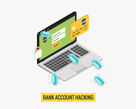 business crime: Hacker activity computer and viruses bank account hacking flat isolated illustration