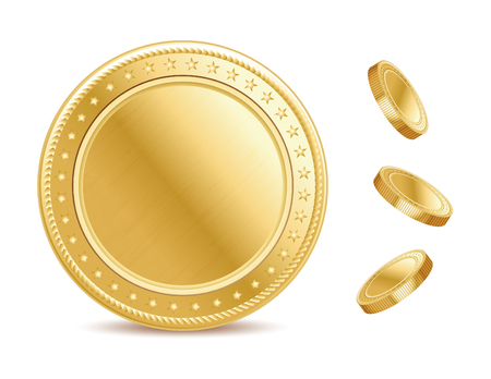 empty surface: Empty surface of the golden finance isolated dollar coin on the white background. Illustration
