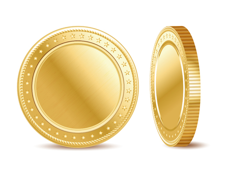 isolated: Empty golden finance coin on the white background. Illustration