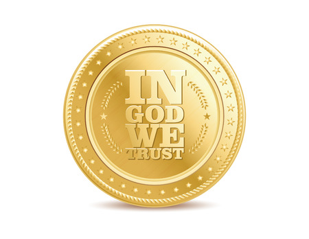 in god we trust: golden finance isolated dollar coin with text in God We Trust.