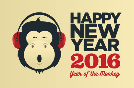 animal background: Chinese year of the Monkey 2016. New Year vector  creative poster Illustration