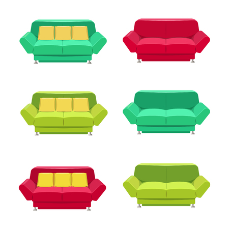 sofa: Vector flat sofa icons set