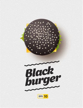 take out: Top view illustration of black cheesburger on the grey background.