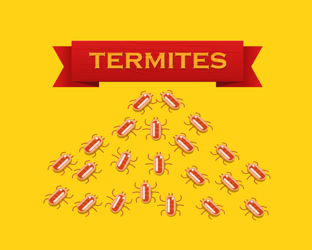 nuisance: Red colony of termites. Vector flat style illustration
