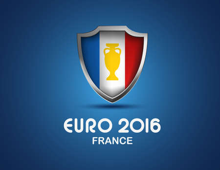 football trophy: France Euro 2016 concept. Vector shield with flag and football golden cup