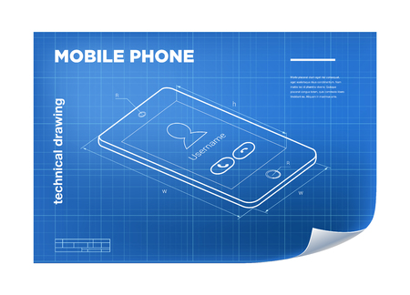 delineation: Technical Illustration with mobile phone drawing on the blueprint. Illustration