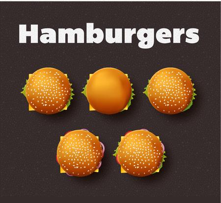 hamburger bun: Top view illustration of hamburgers. Realistic set