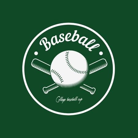 vintage color baseball championship icon or badge. Flat style design.