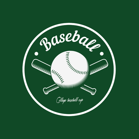 championship: vintage color baseball championship icon or badge. Flat style design.