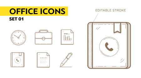 contact book: Line icons with flat design elements of office appliances - clock, portfolio, files, contact book and pen.  Illustration