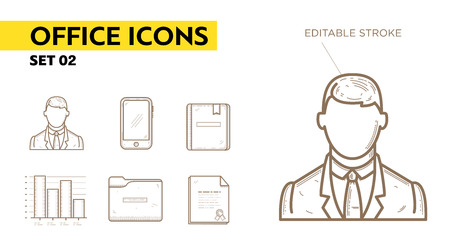 office appliances: Line icons with flat design elements of office appliances - businessman, phone, diploma, folder, book and chart.  Illustration