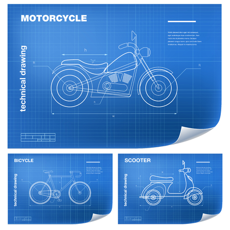 Technical wireframe Illustrations with motorbike, bicycle and scooter drawing on the blueprint