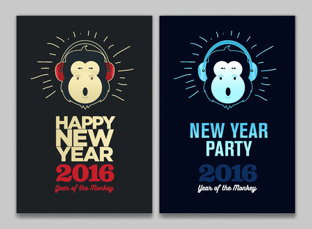 Happy New Year 2016, Banner or Pamphlet. Funny monkey with headphones. Eve Party celebration template
