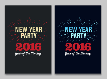 a2: Happy New Year 2016, Banner or Pamphlet. Hand drawn fireworks. Eve Party celebration template