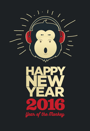 new years resolution: Happy New Year 2016, Banner or Pamphlet. Funny monkey with headphones. Eve Party celebration template.