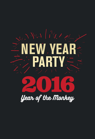 Happy New Year 2016, Banner or Pamphlet. Hand drawn fireworks. Eve Party celebration template.