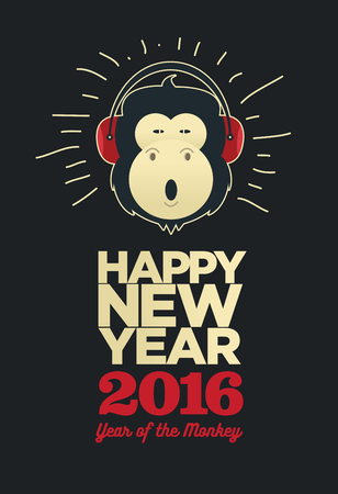 pamphlet: Happy New Year 2016, Banner or Pamphlet. Funny monkey with headphones. Eve Party celebration template.